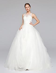 LAN TING BRIDE 볼 드레스 웨딩 드레스 어깨 노출 스타일 스윕 / 브러쉬 트레인 쥬얼리 레이스 튤 와 아플리케