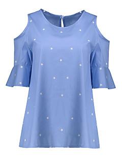 Feminino Camiseta Tamanhos Grandes Casual Simples Verão,Galáxia Algodão Raiom Decote Redondo Manga Curta Fina