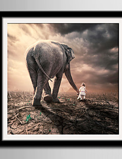 E-HOME® Framed Canvas Art The Back of Girls And Elephants Framed Canvas Print One Pcs