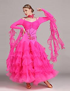 Dança de Salão Vestidos Mulheres Actuação Tule Licra Plissado 2 Peças Manga Comprida Natural Vestido Neckwear