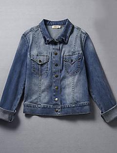 Damen Solide Einfach Ausgehen Lässig/Alltäglich Jeansjacke,Schal Revers Frühling Herbst Langarm Kurz Baumwolle