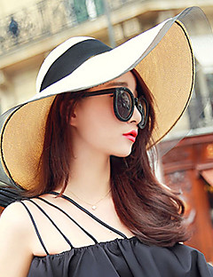 Women's Fashion Straw Hat Sun Hat Wide Brim Hat/Cap Cute Casual Solid Mesh Bowknot Beach Summer Beige