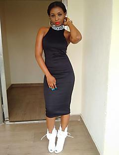 Γυναικείο Καθημερινά Πάρτι/Κοκτέιλ Κομψό στυλ street Θήκη Φόρεμα,Πουά Κοντομάνικο Δένει στο Λαιμό Ασύμμετρο Μοντάλ Άνοιξη Φθινόπωρο