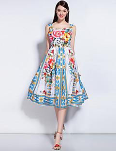 Swing Ruha Női Boho Alkalmi Casual/hétköznapi Tengerpart,Virágos Szív-alakú Térdig érő Ujjatlan Poliészter Spandex Tavaszi NyáriKözepes
