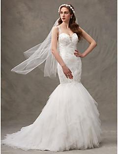 LAN TING BRIDE 핏 & 플레어 웨딩 드레스 랩 웨딩 드레스 스윕 / 브러쉬 트레인 스트랩 레이스 튤 와 드레이프트 레이스