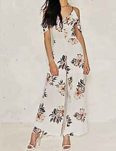 Women's Mid Rise Going out Casual/Daily Jumpsuits,Sexy Simple Wide Leg Floral Spring Summer
