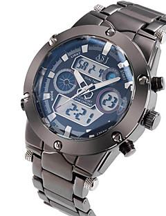 ASJ Hommes Montre de Sport Montre Bracelet Japonais Quartz LCD Calendrier Chronographe Etanche Double Fuseaux Horaires penggeraAcier