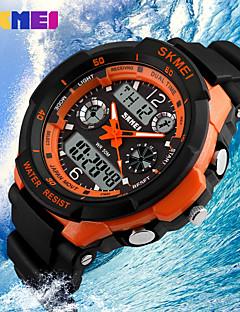 SKMEI Pánské Náramkové hodinky Křemenný Japonské Quartz LCD Kalendář Chronograf Voděodolné Hodinky s dvojitým časem poplach Pryž Kapela