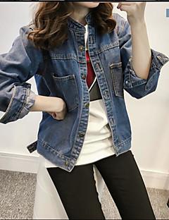 Damen Solide Einfarbig Einfach Lässig/Alltäglich Jeansjacke,Hemdkragen Frühling Langarm Kurz Baumwolle