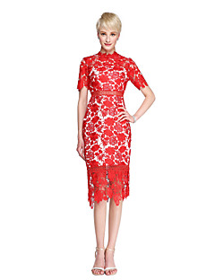 Sheath / Column Mother of the Bride Dress - See Through Knee-length Short Sleeve Lace with Lace