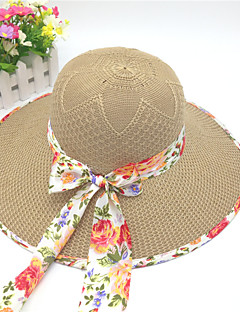 Women's Polyester Straw Hat,Cute Casual Solid Spring Summer Fall