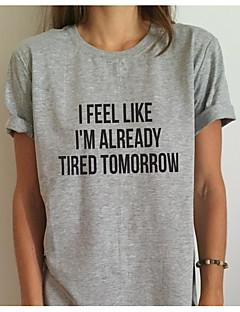 Feminino Camiseta Para Noite Casual Simples Verão,Sólido Letra Raiom Decote Redondo Manga Curta Fina