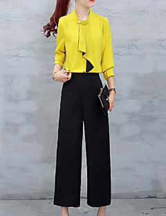 Going out Casual/Daily Work Vintage Simple Cute All Seasons Summer Shirt Pant Suits,Solid Cowl Long Sleeve Others Regular
