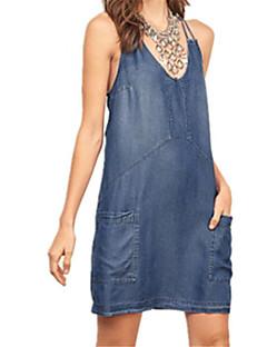 ebay aliexpressホットスモールvネックホルターショルダーストラップジーンズポケットパッケージヒップドレス