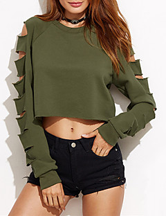 Women's Casual/Daily Simple Fall Winter T-shirt,Solid Round Neck Long Sleeve Green Cotton Medium
