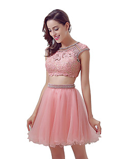 מסיבת קוקטייל השמלה הכדור שמלת התכשיט באורך הברך אורך tulle עם תחרה תחרה