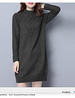 Γυναικείο Εξόδου Καθημερινά Απλό Εφαρμοστό Φόρεμα,Μονόχρωμο Μακρυμάνικο Στρογγυλή Λαιμόκοψη Πάνω από το Γόνατο Βαμβάκι Άνοιξη Φθινόπωρο