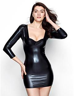 Naisten Ultra Sexy Yöasut,Seksikäs Yhtenäinen-Medium Kiiltonahka Musta