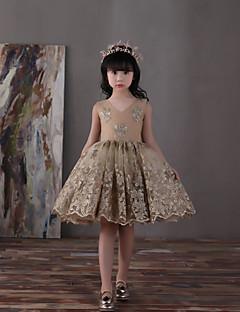 볼 드레스 무릎 길이 플라워 걸 드레스 - 레이스 튤 새틴 쉬폰 V-넥 와 리본