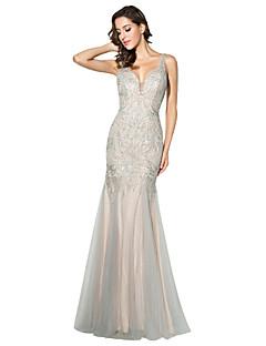 공식적인 이브닝 드레스 트럼펫 / 머메이드 V- 넥 바닥 길이 얇은 명주 그물 구슬 장식