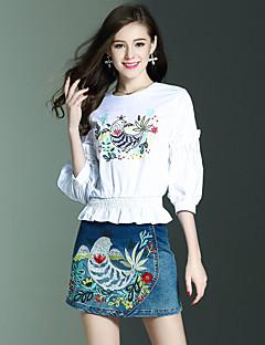 Dames Vintage Street chic Geavanceerde Veer Zomer T-Shirt Rok Kostuums,Uitgaan Casual/Dagelijks Vakantie Bloemen Dierenprint Ronde hals¾