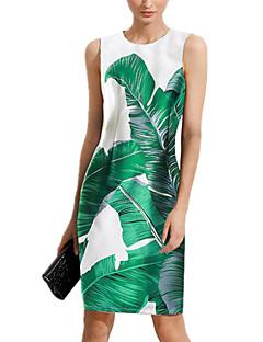 Kadın Günlük/Sade Dışarı Çıkma Seksi Sade Kombinezon Elbise Desen,Kolsuz Yuvarlak Yaka Diz-boyu Polyester Yaz Normal Bel Mikro-Esnek Orta