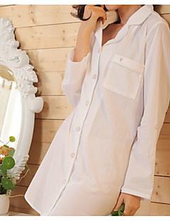 여성 수트 잠옷,프린트 솔리드 면