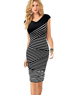 Women's Fine Stripe Party Club Bodycon Dress,Striped Color Block Boat Neck Above Knee Sleeveless Modal Summer Mid Rise Stretchy Thin