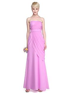 Lanting Bride® Na zem Šifón Elegantní Šaty pro družičky - Pouzdrové Bez ramínek s Šerpa / Stuha Boční řasení