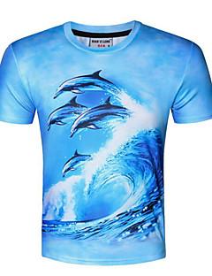 Polyester Solid Kortermet,Rund hals T-skjorte Trykt mønster Sommer Enkel Fritid/hverdag Herre