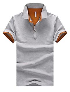 Bomull Kortermet,Skjortekrage Polo Fargeblokk Enkel Fritid/hverdag Herre