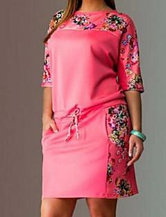 2016年夏の新しいラウンドネック半袖プリント大サイズの女性'ドレス脂肪ミリメートル