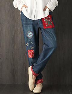 Women's Mid Rise Micro-elastic Jeans Pants,Vintage Simple Slim Print