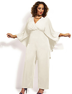 Women's Solid White / Black Jumpsuits , Plus Size / Sexy Deep V Long Sleeve