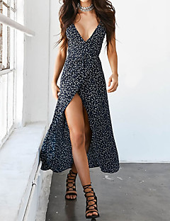Women's Going out Casual/Daily Beach Sexy Simple Street chic Sheath Dress,Floral Print Strap Midi Sleeveless Polyester SpandexSpring