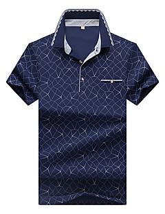 Herren Geometrisch Einfach Lässig/Alltäglich Arbeit Übergröße Polo,Hemdkragen Sommer Kurzarm Baumwolle Elasthan Mittel