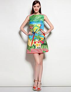 Feminino Evasê Vestido,Para Noite Casual Praia Boho Floral Decote Redondo Acima do Joelho Sem Manga Poliéster Elastano Primavera Verão
