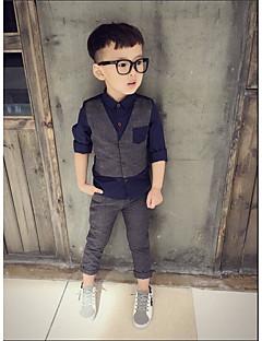 Мальчики Наборы На каждый день Праздник Для школы Хлопок Однотонный Полоски Весна Набор одежды