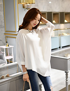 DABUWAWA Women's Going out Casual/Daily Holiday Simple Punk & Gothic Sophisticated Spring Summer Blouse,Solid Round Neck ¾ Sleeve Polyester