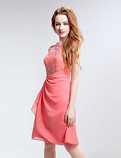 שמלת שושבינה באורך הברך - שמלה / תכשיט טור עם רקמה