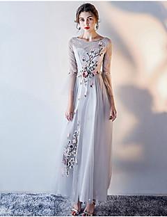 アップリケのaラインジュエルネックのアンクル長チュールフォーマルイブニングドレス