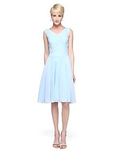 サテン/リボン付きのaラインのVネックの膝丈シフォンの花嫁介添人ドレス