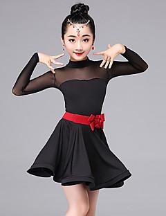 ריקוד לטיני שמלות לילדים ביצועים מילק פייבר אבנט / סרט 2 חלקים שרוול ארוך שמלה חגורת מותניים