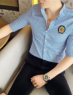 Polyester Medium Halvlange ermer,Høy krage Skjorte Stripet Alle sesonger Enkel Fritid/hverdag Arbeid Herre