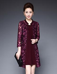 Damen einfarbig Einfach Ausgehen Shirt Kleid Anzüge,Rundhalsausschnitt Riemengurte Sommer ¾ Ärmel Kunstseide