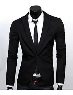 Herren Solide Einfach Lässig/Alltäglich Arbeit Blazer,Hemdkragen Frühling Sommer Langarm Standard Polyester