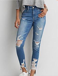 Feminino Sexy Cintura Alta Com Elástico Jeans Calças,Delgado Cor Única