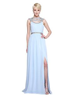 A-Linie Schmuck Boden-Länge Chiffon Brautjungfernkleid mit Perlenstickerei Plissee durch LAN TING BRIDE®