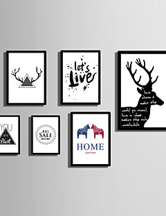 E-HOME® Framed Canvas Art  Simple Animals And  Letters  (1) Theme Series Framed Canvas Print One Pcs