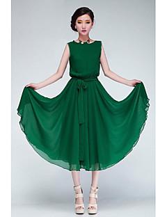женская зеленый / черный шифон платье с коротким рукавом с поясом